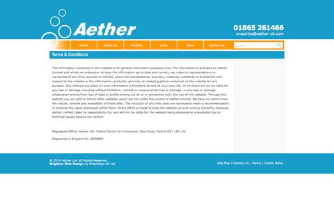 Screenshot of Terms Page aether-uk.com - Terms & Conditions - captured Oct. 4, 2014