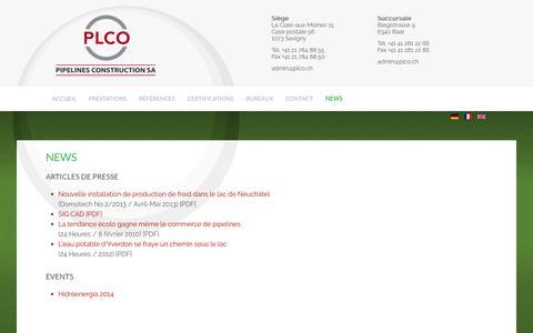 Screenshot of Press Page plco.ch - News - captured Oct. 6, 2016