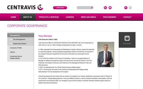Screenshot of Team Page centravis.com - Top Management - captured July 16, 2018