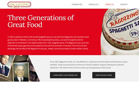 Screenshot of About Page ragozzino.com - The history of three generations of great custom foods - captured Oct. 20, 2018