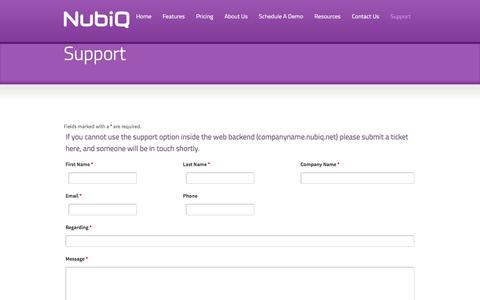 Screenshot of Support Page nubiq.us - NubiQ | Support - captured Sept. 21, 2018