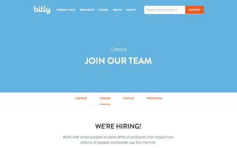 Screenshot of Jobs Page bitly.com - Bitly Careers | Bitly - captured Oct. 29, 2014