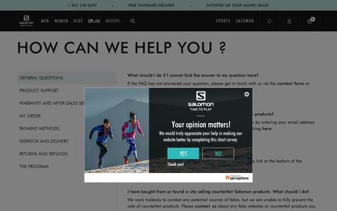 Screenshot of FAQ Page salomon.com - How can we help you ? | Salomon - captured April 26, 2019