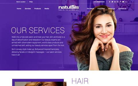 Screenshot of Services Page naturals.in - Beauty Services | Salon Services - Naturals - captured Sept. 30, 2019
