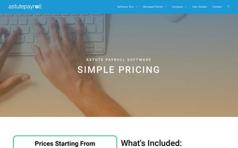 Screenshot of Pricing Page astutepayroll.com - Pricing – Astute Payroll - captured July 4, 2019