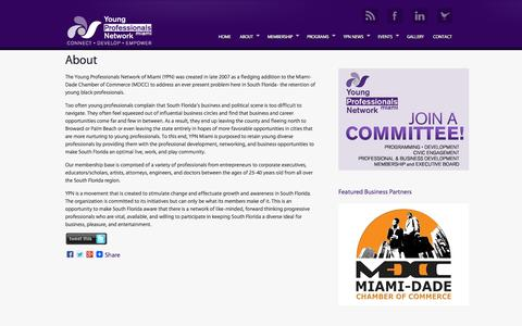 Screenshot of About Page ypnmiami.com - About the Young Professional Network (YPN) of the Miami-Dade Chamber of Commerce | Young Professionals Network of the Miami-Dade Chamber of Commerce - captured Oct. 27, 2014