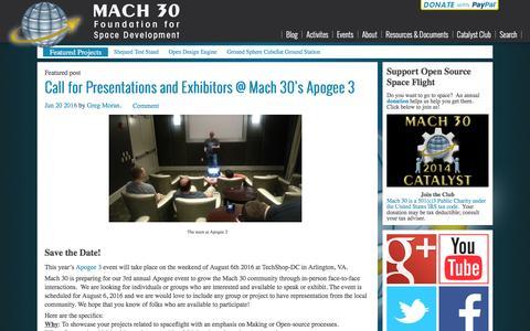 Screenshot of Blog mach30.org - Main - Mach 30 - captured July 21, 2016