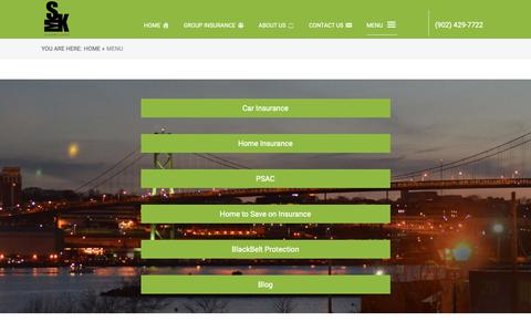 Screenshot of Menu Page smkinsurance.com - Menu - SMK Insurance - captured Oct. 1, 2018