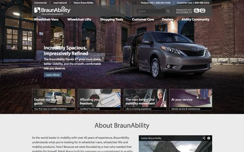 Screenshot of Home Page braunability.com - BraunAbility Wheelchair Vans and Wheelchair Lifts - captured Sept. 25, 2014