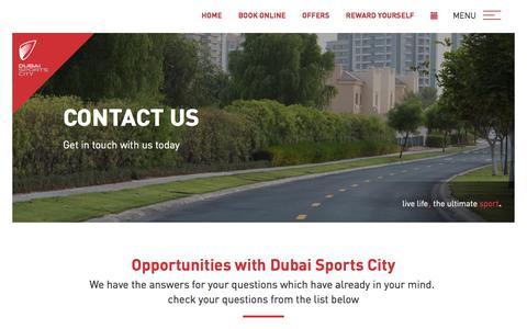 Screenshot of Contact Page dsc.ae - CONTACT US - Dubai Sports CityDubai Sports City - captured July 3, 2018