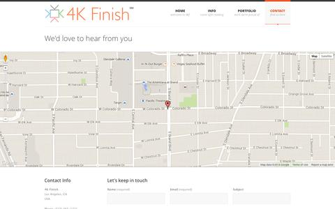 Screenshot of Contact Page 4kfinish.com - Color Correction Services for film, television and commercials in Los Angeles - captured Oct. 27, 2014