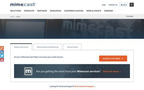 Login to Personal Portal, Service Monitor | Mimecast