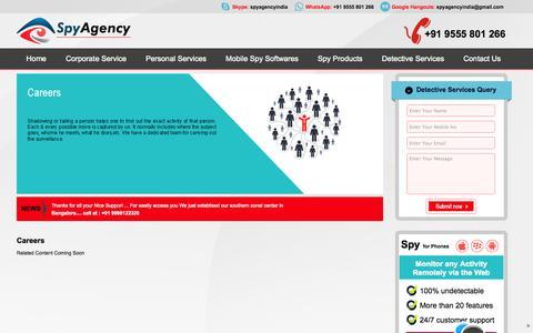 Screenshot of Jobs Page spyagency.in - Careers :: Spy Agency India - captured Nov. 5, 2014