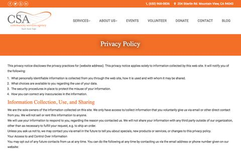 Screenshot of Privacy Page csacares.org - Privacy | Community Services Agency of Los Altos and Mountain View - captured Aug. 17, 2017