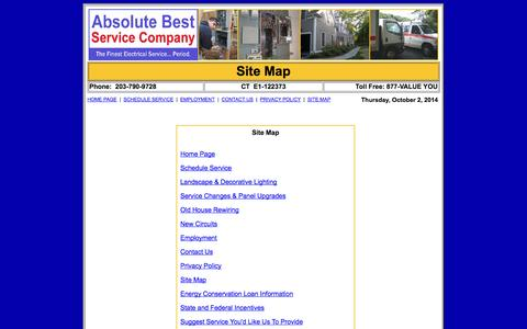 Screenshot of Site Map Page electricalservicesinct.com - Electrical Services Site Map - captured Oct. 2, 2014