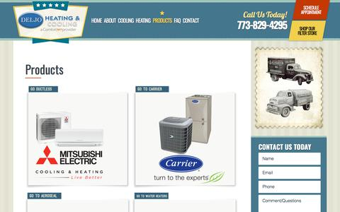 Screenshot of Products Page deljoheating.com - Chicago, IL Heating & Cooling Product | HVAC Products - captured Oct. 12, 2017