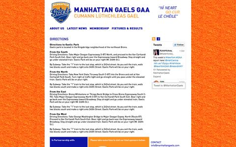 Screenshot of Maps & Directions Page manhattangaels.com - Manhattan Gaels | DIRECTIONS - captured Oct. 3, 2014
