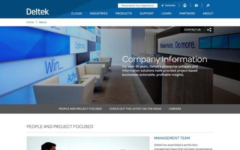 Screenshot of About Page deltek.com - Company Information | Deltek Solutions - captured Jan. 20, 2018