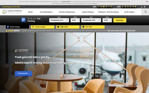 Screenshot of Home Page leedsbradfordairport.co.uk - Welcome to Leeds Bradford® Airport & Parking - Leeds Bradford Airport - captured Sept. 25, 2018