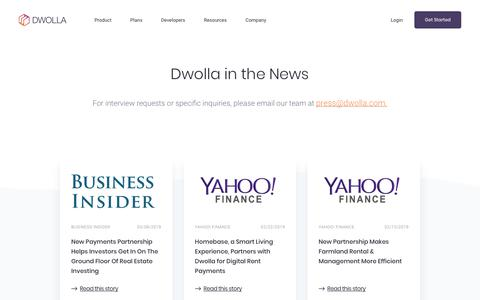 Screenshot of Press Page dwolla.com - Press | Dwolla In The News | Dwolla - captured April 4, 2019