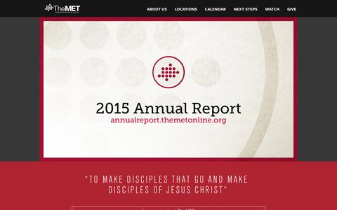 Screenshot of Home Page themetonline.org - The Met Church - captured Feb. 17, 2016