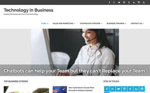 Screenshot of Home Page technology-in-business.net - Technology is a driving Force within Business , this is a blog dedicated to Technology in Business. - captured Oct. 29, 2017