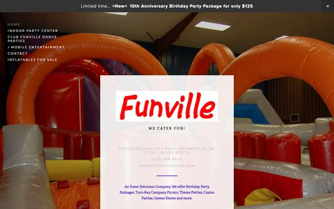 Screenshot of Home Page funvilleisfun.com - Funville Inc - captured Oct. 31, 2018