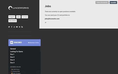 Screenshot of Jobs Page linceworks.com - LINCE WORKS - captured July 20, 2018