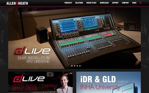 Screenshot of Home Page allen-heath.com - Allen & Heath - Professional audio mixing consoles - captured Feb. 5, 2016