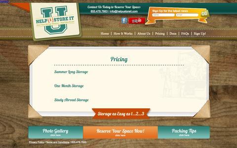 Screenshot of Pricing Page helpustoreit.com - Summer Storage Pricing - Help U Store ItHelp U Store It - captured Sept. 26, 2014