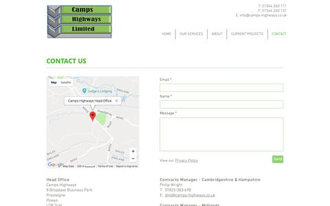 Screenshot of Contact Page camps-highways.co.uk - Contact | Camps Highways - captured Sept. 26, 2018