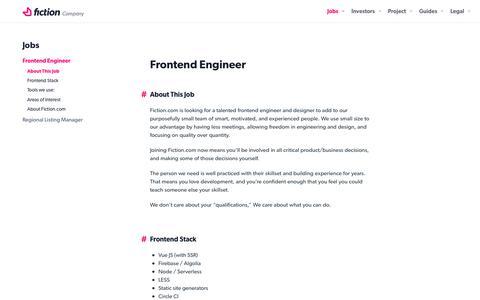 Screenshot of Jobs Page fiction.com - Frontend Engineer - Fiction.com About - captured Nov. 21, 2018