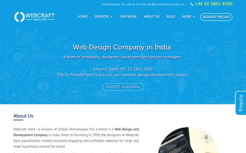 Screenshot of About Page webcraftindia.com - Web Design Company in India - captured June 29, 2017