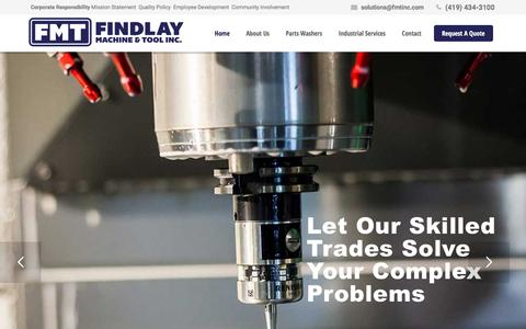 Screenshot of Home Page fmtinc.com - Findlay Machine and Tool - captured Feb. 9, 2016