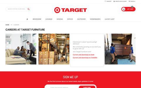 Screenshot of Jobs Page targetfurniture.co.nz - Target Furniture NZ | Modern Designs at Affordable Prices | Careers - captured Nov. 18, 2018