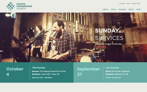 Screenshot of Home Page pacificcrossroads.org - Pacific Crossroads Church - - captured Sept. 30, 2015