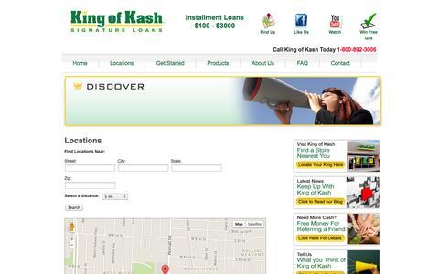 Screenshot of Locations Page kingofkash.com - Locations - King of Kash - captured Oct. 6, 2014