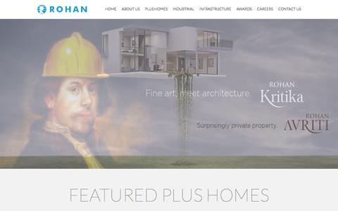 Screenshot of Home Page rohanbuilders.com - Properties Builder in Pune | Properties in Bangalore | Real estate developer in Pune - captured Jan. 19, 2016