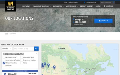 Screenshot of Contact Page Locations Page papemh.com - Dealership Locations | Papé Material Handling - captured Oct. 25, 2018
