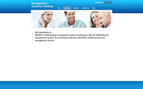 Screenshot of Services Page msiisos.com - Services - Management Systems Institute - captured Oct. 4, 2014