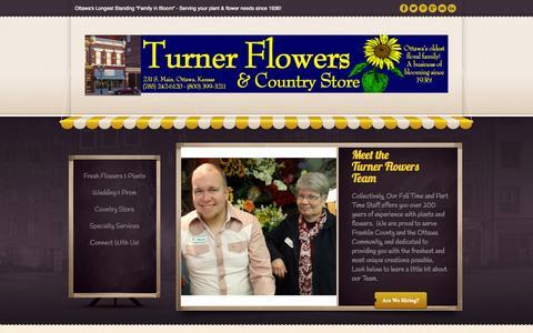 Screenshot of Team Page turnerflowers.com - Our Team - Turner Flowers & Country Store - Ottawa, Kansas - 1-800-399-32111-800-399-3211 - captured Oct. 9, 2014