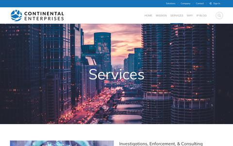 Screenshot of Services Page ce-ip.com - Services – Continental Enterprises, Inc. - captured Dec. 15, 2018