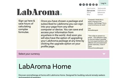 Screenshot of Signup Page labaroma.com - Sign up - Aromatherapy Oil Formulation Tool, Lab Aroma - captured July 10, 2016