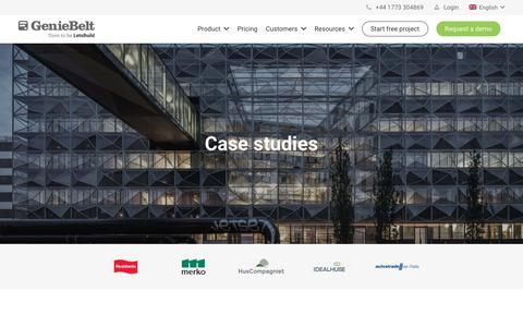 Screenshot of Case Studies Page geniebelt.com - Case studies - GenieBelt - captured June 4, 2019