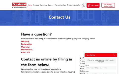 Screenshot of Contact Page goodmanmfg.com - Contact Us Online At Goodman By Filling This Form - captured Jan. 16, 2018