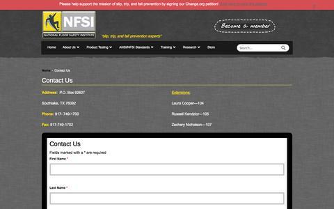 Screenshot of Contact Page nfsi.org - Contact Us - NFSI - captured Oct. 27, 2014