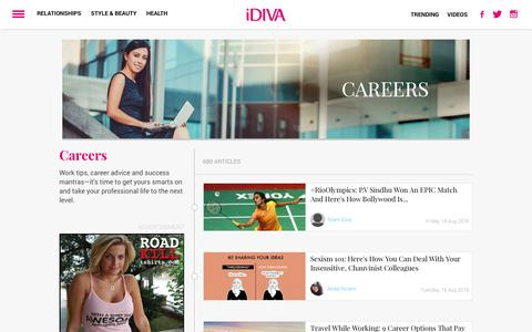 Screenshot of Jobs Page idiva.com - Work tips, career advice and success mantras—it's time to get yours smarts on and take your professional life to the next level. | iDiva - captured Aug. 20, 2016