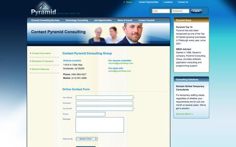 Screenshot of Contact Page Locations Page pyramidcgi.com - // Pyramid Consulting Group - Contact Information - captured Dec. 13, 2015