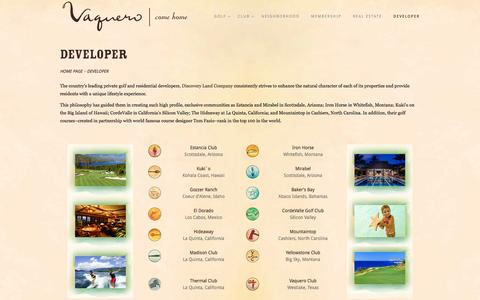 Screenshot of Developers Page vaqueroclub.com - DEVELOPER - Vaquero Club - captured Oct. 1, 2014