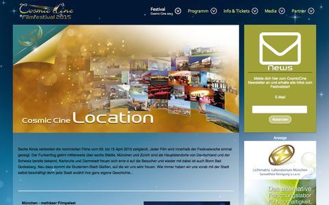Screenshot of Locations Page cosmic-cine.com - Cosmic Cine Standorte - Cosmic Cine Film Festival 2015 - captured Oct. 28, 2014